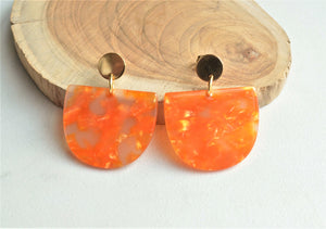 Orange Statement Earrings, Big Lucite Earrings, Acrylic Post Earrings, Gifts For Her - Nora