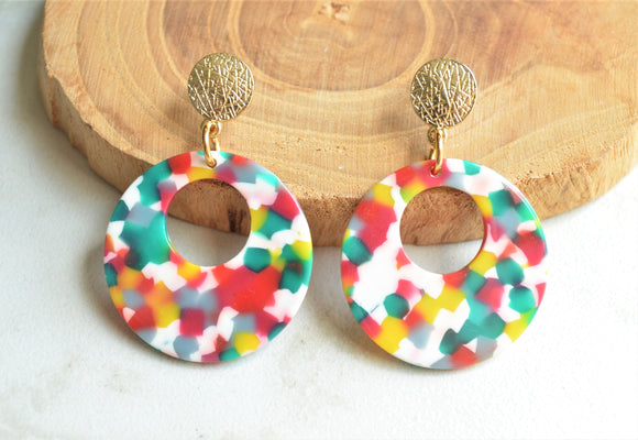 Confetti Big Hoop Colorful Rainbow Statement Earrings - Grace