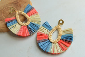 Coral Blue Statement Earrings, Raffia Earrings, Tropical Earrings