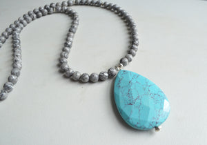 Turquoise Statement Necklace, Long Bead Necklace, Boho Stone Necklace - Ultimo