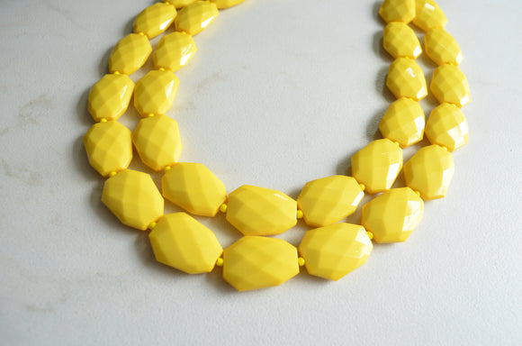 Acrylic Statement Necklace, Beaded Chunky Necklace - Jane