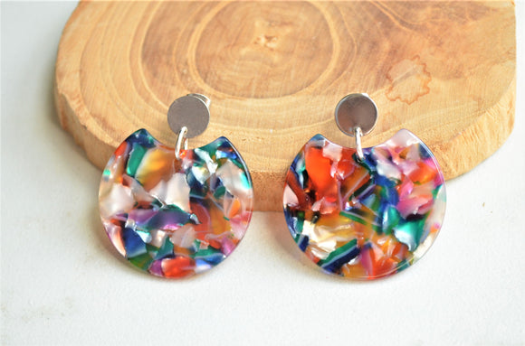 Colorful Rainbow Big Large Acrylic Lucite Statement Earrings - Hanna