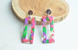 Multi Color Statement Earrings, Colorful Lucite Earrings, Big Acrylic Earrings, Gifts For Her - Louise