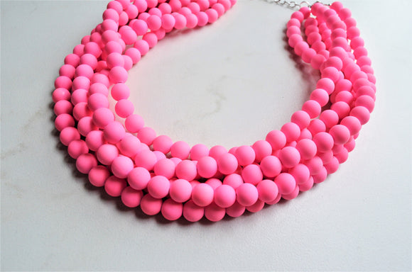 Neon Pink Statement Necklace, Rubber Beaded Necklace, Chunky Necklace, Gift For Her - Alana