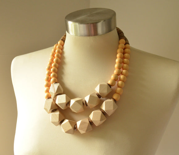Yellow Statement Necklace, Beaded Wood Necklace, Chunky Necklace - Riley