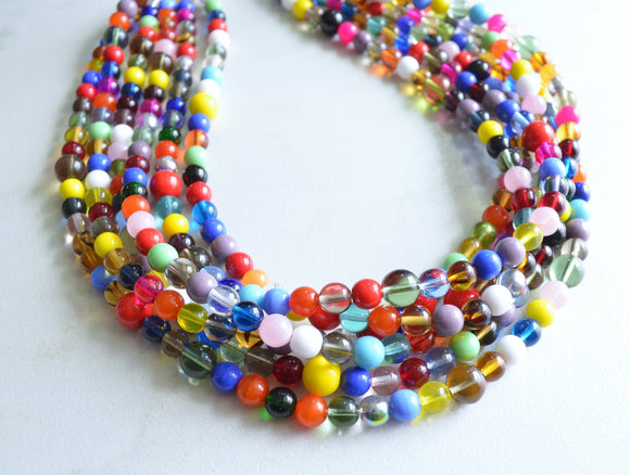 Colorful Beaded Chunky Multi Strand Statement Necklace - Fiesta
