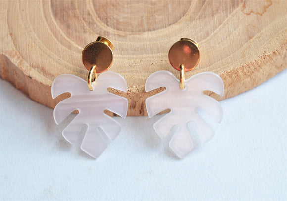 White Palm Leaf Lucite Tropical Statement Earrings