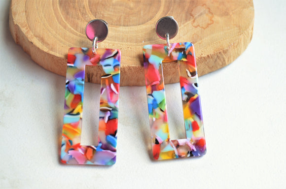 Multi Color Earrings, Statement Earrings, Lucite Earrings, Acrylic Earrings, Gift For Her - Louise