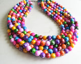 Colorful Acrylic Beaded Multi Strand Statement Necklace - Alana
