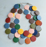 Multi Color Wood Necklace, Statement Necklace, Chunky Wooden Necklace, Big Bold Necklace - Charlotte