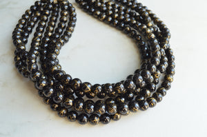 Black Gold Acrylic Beaded Multi Strand Statement Necklace - Alana