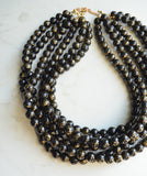 Black Gold Statement Necklace, Acrylic Bead Necklace, Chunky Necklace, Multi Strand, Gift For Her - Alana