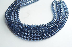 Navy Blue Statement Necklace, Glass Beaded Necklace, Chunky Necklace - Michelle