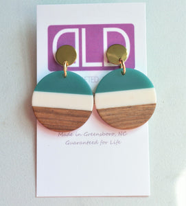 Yellow Green Lucite Wood Statement Earrings - Orville