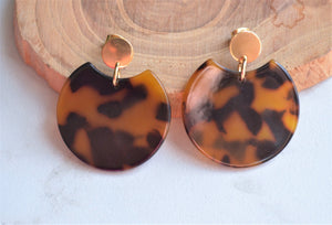 Tortoise Shell Earrings, Statement Earrings, Lucite Big Earrings, Acrylic Earrings - Hanna