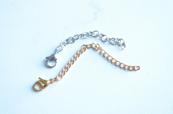 Silver Gold Extender Chain, Necklace Lengthener, Necklace Extender, Lobster Claw Clasp Extension