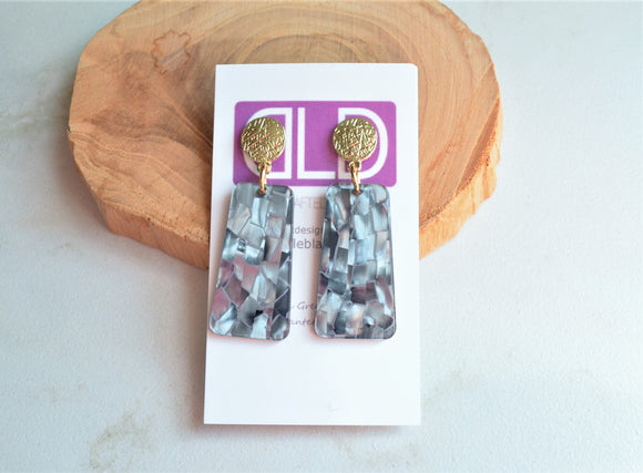 Gray Statement Earrings, Shell Earrings, Lucite Earrings, Mother of Pearl Earrings, Gift For Her - Nevaeh