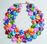 Multi Color Statement Necklace, Beaded Acrylic Necklace, Colorful Lucite Necklace - Charlotte