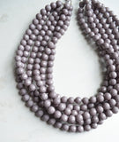 Gray Faceted Acrylic Beaded Multi Strand Chunky Statement Necklace - Angelina