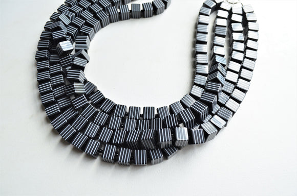 Black White Statement Necklace, Chunky Acrylic Necklace, Striped Cube Necklace, Gift For Her - Amanda
