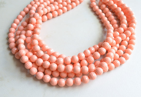 Peach Statement Necklace, Beaded Acrylic Necklace, Chunky Necklace - Angelina