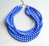 Blue Faceted Beaded Acrylic Multi Strand Statement Necklace - Angelina