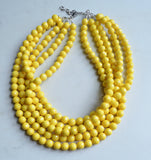 Yellow Statement Necklace, Beaded Acrylic Necklace, Chunky Necklace, Gift For Woman - Angelina