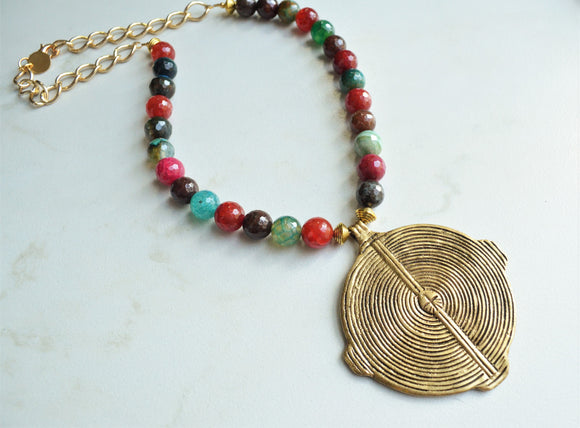 Multi Color Statement Necklace, Gold Pendant Necklace, Medallion Necklace, Long Colorful Necklace - Samantha