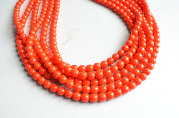 Orange Statement Necklace, Red Bead Necklace, Glass Chunky Necklace - Michelle