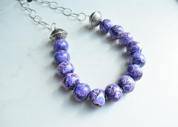 Purple Statement Necklace, Long Chunky Necklace, Silver Chain Necklace, Gift For Her - Bambina