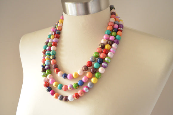 Multi Color Statement Necklace, Chunky Bead Necklace, Jade Multi Strand Necklace - Jamie
