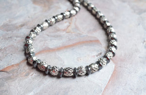 Silver Mens Necklace, Hematite Bead Necklace, Mens Necklace, Gift For Him - Plata Negro