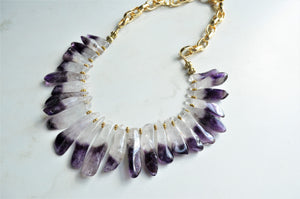 Amethyst Statement Necklace, Purple Stone Necklace, Gold Chain Necklace - Times Square