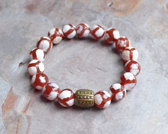 Red Mens Bracelet, Stretch Bead Bracelet, Mens Jewelry, Mens Accessories, Gifts For Men - Thompson