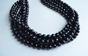 Black Statement Necklace, Beaded Lucite Necklace, Chunky Necklace For Women - Angelina