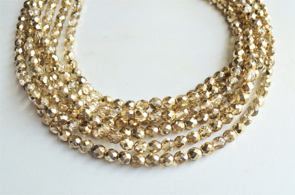 Gold Statement Necklace, Crystal Bead Necklace, Chunky Glass Necklace, Gifts For Women - Rebecca
