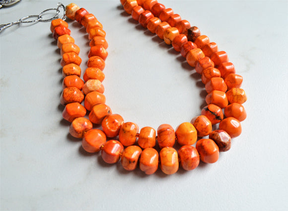 Orange Statement Necklace, Bead Necklace, Long Chunky Necklace, Chain Necklace