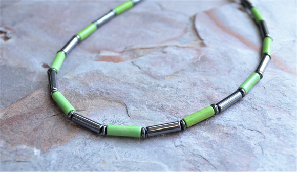 Green Mens Necklace, Bead Necklace, Magnesite Necklace, Hematite Necklace