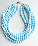 Light Blue Faceted Acrylic Beaded Multi Strand Statement Necklace - Angelina