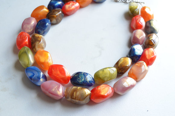 Multi Color Statement Necklace Chunky Acrylic Necklace Multi Strand Jewelry - Callie