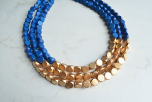 Blue Gold Statement Necklace, Wood Bead Necklace, Chunky Necklace, Gift For Her - Lisa