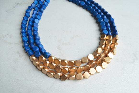 Blue Gold Wood Beaded Statement Necklace - Lisa