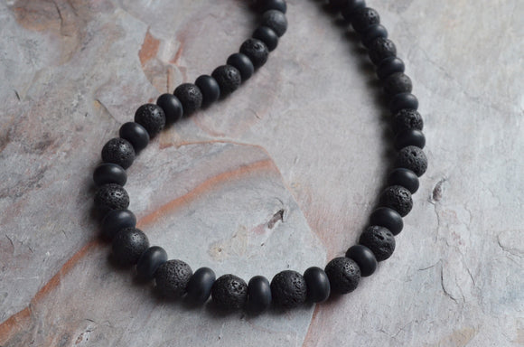 Lava Rock Mens Necklace, Black Bead Necklace, Mens Jewelry