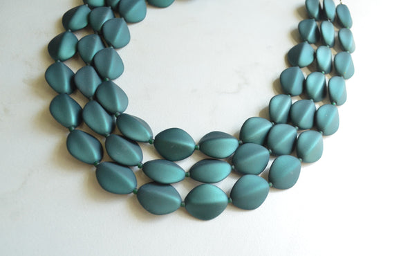 Green Statement Necklace, Matte Acrylic Necklace, Rubber Bead Necklace - Minnie