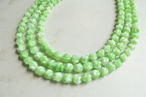 Green Glass Beaded Chunky Statement Necklace - Wanda