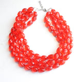 Red Statement Necklace, Lucite Bead Necklace, Acrylic Chunky Necklace - Ginger