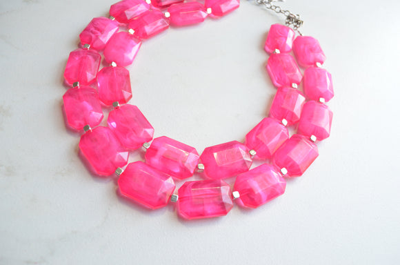Pink Statement Necklace, Chunky Bead Necklace, Acrylic Necklace - Jenny