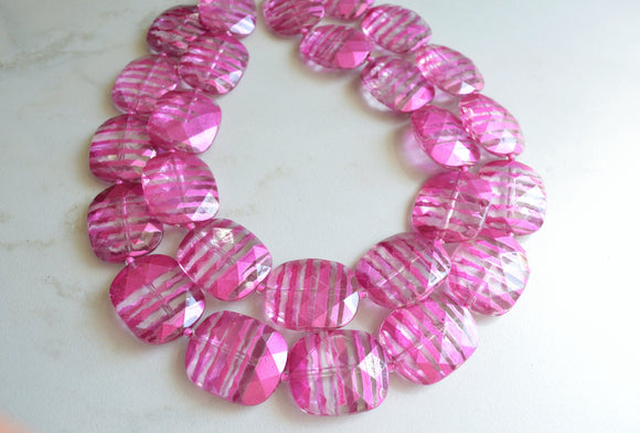 Pink Statement Necklace, Acrylic Necklace, Chunky Multi Strand Necklace- Amber