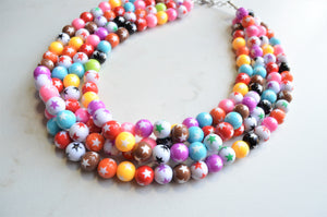 Multi Color Statement Necklace, Star Bead Necklace, Lucite Chunky Necklace - Alana