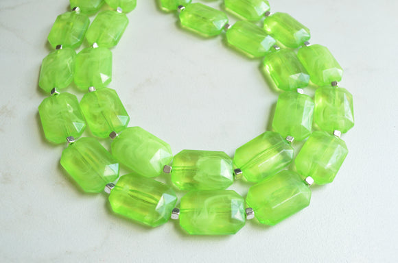 Lime Green Statement Necklace, Chunky Bead Necklace, Acrylic Necklace, Gift For Woman - Jenny